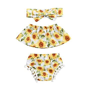 ac069f40812 FEITONG Infant Baby Girls Sun Flower Printed Off Shoulder Top + Tassel Ball  Shorts + Hairband