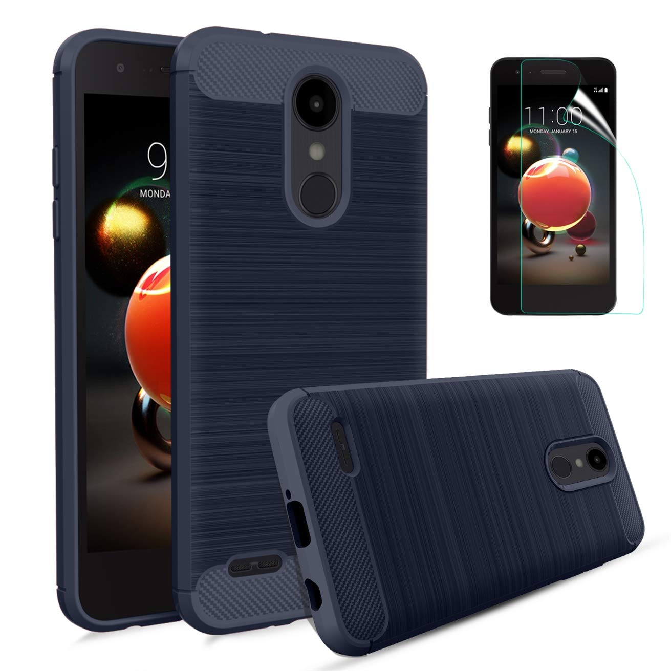 LG Aristo 2/Aristo 2 Plus/Aristo 3/Aristo 3 Plus/Tribute Dynasty/Rebel 4/Phoenix 4/Fortune 2/Tribute Empire/Zone 4/K8S Case w/Screen Protector,Carbon Fiber Brushed Texture TPU Soft Case-Navy Blue