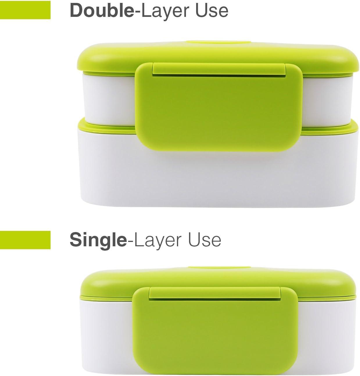 apta para microondas y lavavajillas Verde y blanco Fiambrera con Cuchara y Tenedor para ni/ños y adultos Fiambreras bento de Dos Capas
