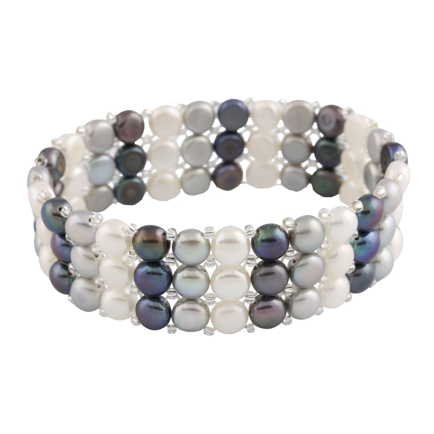 3-Row Handpicked Multicolor 6.5-7mm Freshwater Cultured Pearls Elastic Stretch Gatsby Flapper Style Bracelet