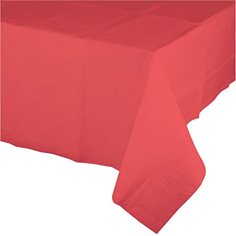 250u0027 Coral Disposable Plastic Banquet Party Table Cloth Roll