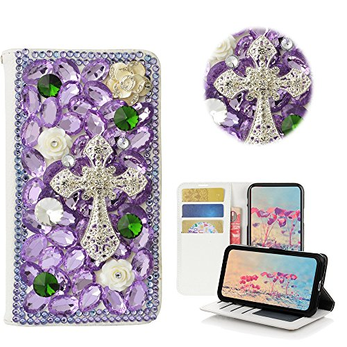 STENES LG Aristo Case, LG Fortune Case, LG LV3 Case - STYLISH - 3D Handmade Bling Crystal Cross Flowers Desgin Wallet Credit Card Slots Fold Media Stand Leather Cover Case - Light (Cross Leather Fold)