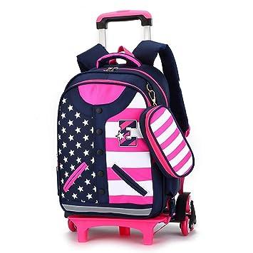 Amazon.com: Geromg 2/6 ruedas niños escuela bolsas de carro ...
