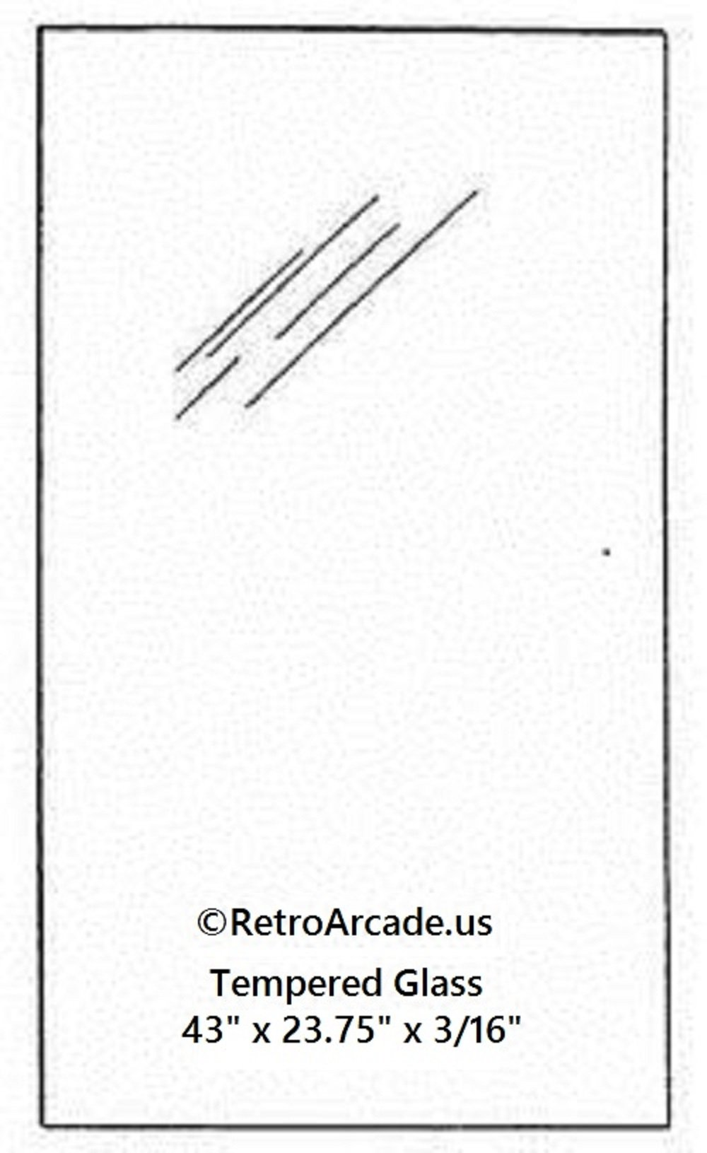 RetroArcade.us ra-pinball-glass-23 Replacement Pinball Glass widebody 23.75 x 43 x 0.185 inch, fits Williams, Stern, Bally, Midway, Game, Plan, Capcom