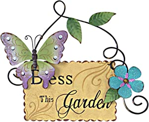 Butterfly Welcome Sign Hanging Wall Art Metal Garden Signs Decorative for Porch Outdoor Decor Welcome to My Garden (Yellow)