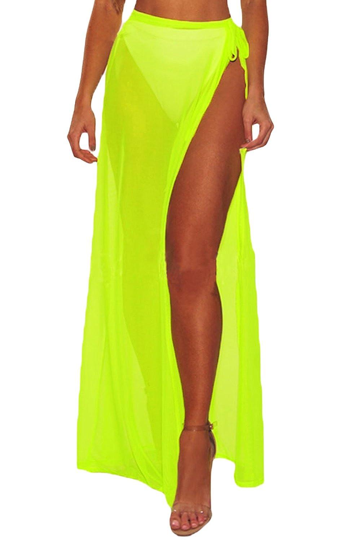 FUSENFENG Womens Wrap High Waist Summer Beach Cover Up Long Maxi Skirt Black)