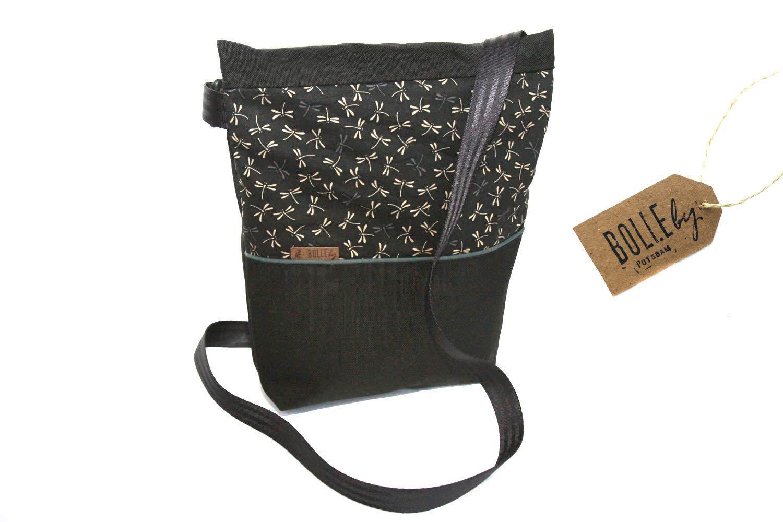 Tasche A5 ☆ midi *Libellen schwarz:grau* ☆ Tablet Canvas Baumwolle Schultertasche Handtasche Umh/ängetasche praktisch robust wasserabweisend handgemacht Damen