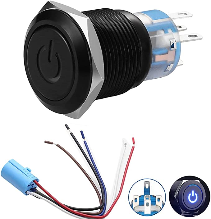Qiilu Latching Push Button Switch 12V Engine Start Stop Black Metal Shell with White LED for 19mm 3//4 Mounting Hole