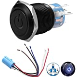 """Latching Pushbutton Switch 12V Power Symbol LED 1NO1NC SPDT ON/OFF Black Waterproof Metal Toggle Switch with Wire Socket Plug for 19mm 3/4"""" Mounting Hole (Blue)"""