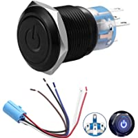 Quentacy 19mm 3/4″ Metal Latching Pushbutton Switch 12V Power Symbol LED 1NO1NC SPDT ON/OFF Black Waterproof Toggle Switch with Wire Socket Plug (Blue)