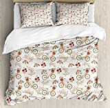 Ambesonne Floral King Size Duvet Cover Set by, Nostalgic Romance with Bikes Baskets Full of Poppy Flowers Baskets Love Birds Spring, Decorative 3 Piece Bedding Set with 2 Pillow Shams, Multicolor