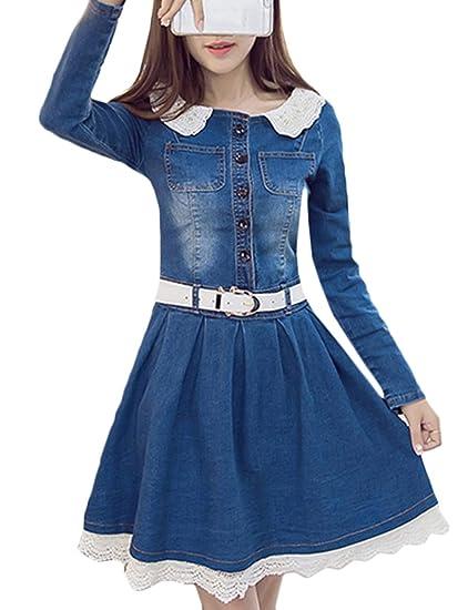 Scothen Chemise en Jean pour Femmes Robe Tunique Jeans ...