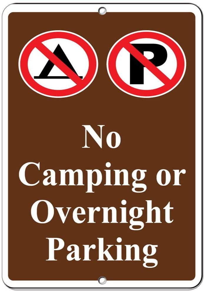 Fhdang Decor No Camping Or Overnight Parking Parking Sign Aluminum METAL Sign,8x12 Inches