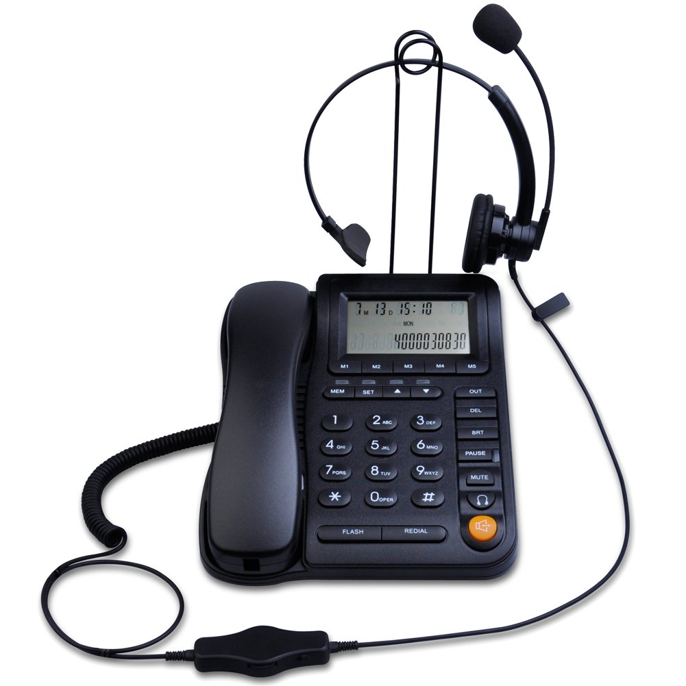 LeeKer LK-P017B Call Center Corded Phone with Caller ID Receiver and Monaural Headset 3.5 mm Noise Canceling Microphone