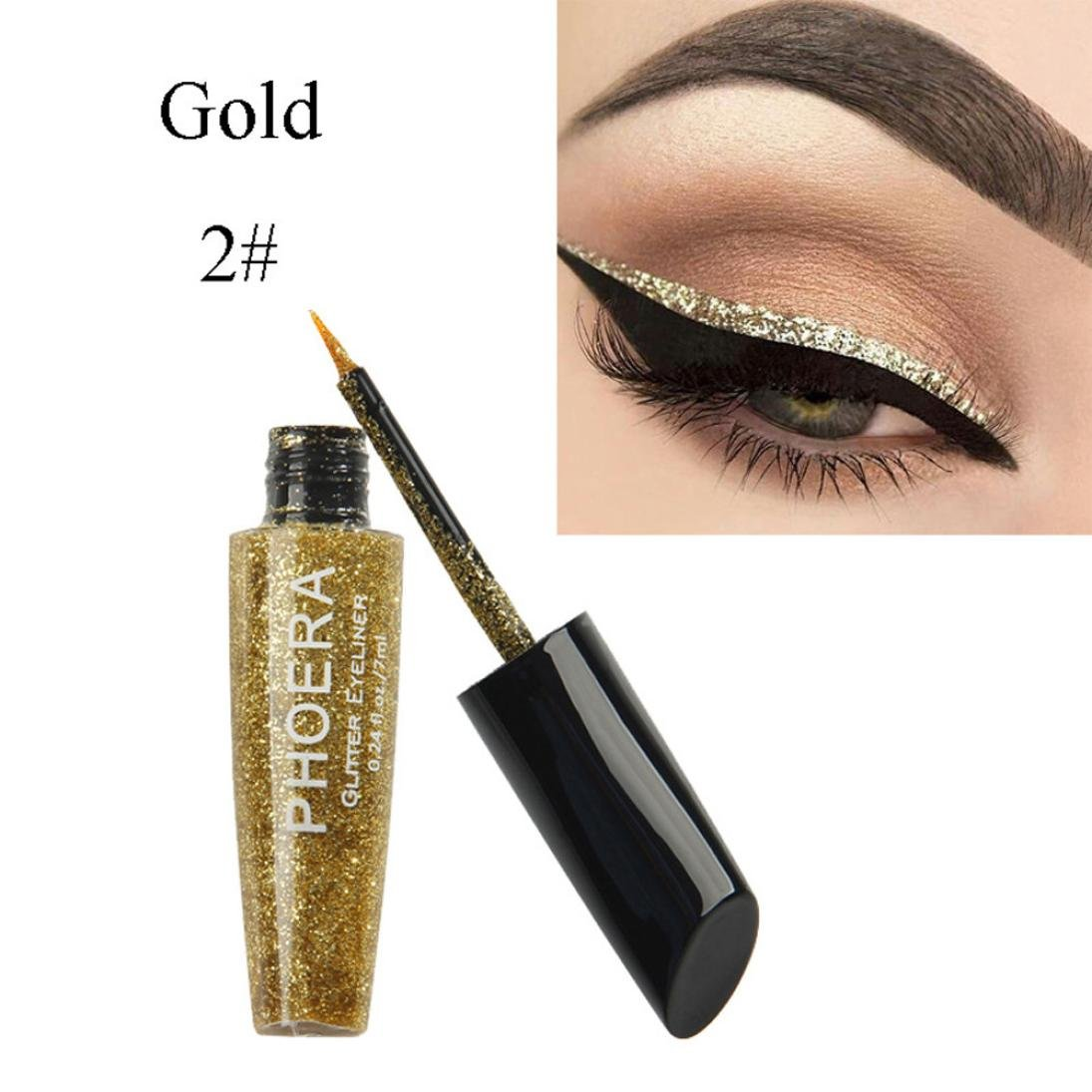 HP95(TM) Available Choose-10 Color Waterproof Glitter Liquid Eyeliner Metallic Shiny Eyeshadow (Gold)