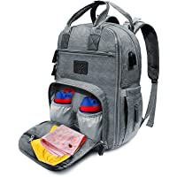 TradeBone Baby Diaper Bag Backpack Insulated with Charging Port (Medium, Grey)
