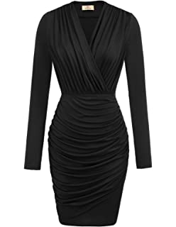 dd75e1d56a GUBERRY Womens Deep V Neck Long Sleeve Sexy Wrap Ruched Mini Club ...