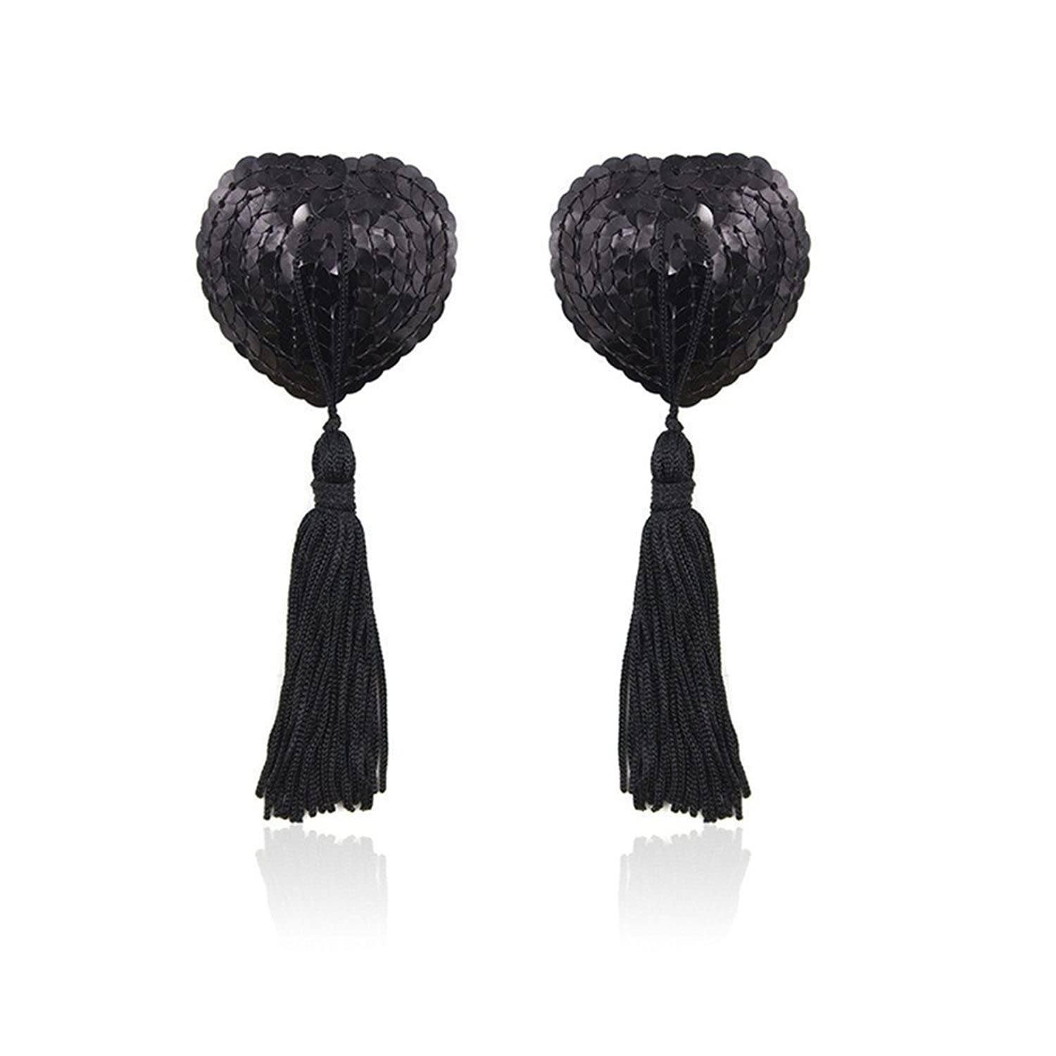 Yunko Women's Sexy Silicone Bling Sequin Heart-shaped Tassel Breast Bra Pasties