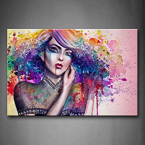 First Wall Art - Woman With Colorful Hair Wall Art Painting