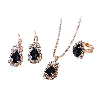 d6a4f5d45350 Yamalans Clearance Deals - Juego de joyería para mujer con collar y aretes  de cristal con