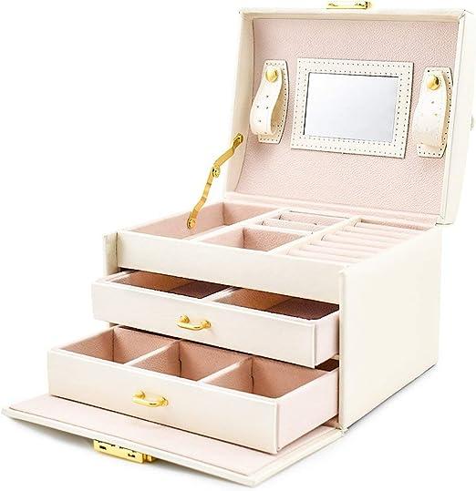 Joyeros Grandes para Mujer, Organizador Joyero para Guardar Joyas Caja Joyero joyeria con Cerradura y Espejo,White: Amazon.es: Hogar