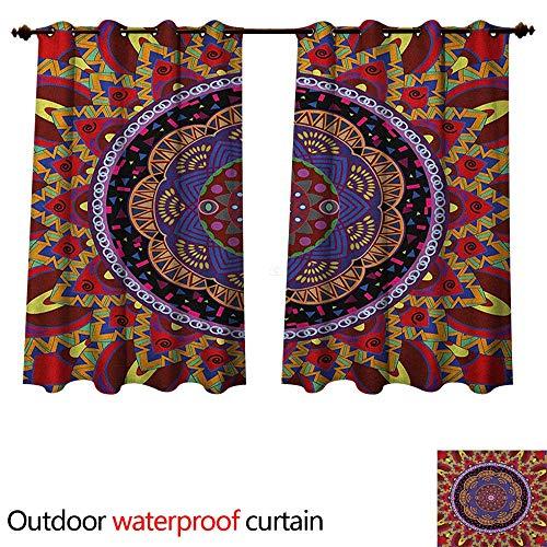 Anshesix Mandala Outdoor Curtains for Patio Sheer Vintage Style Wedding Invitation Card with Mandala Motif Flower Illustration W96 x L72(245cm x - Translucent Invitations Wedding