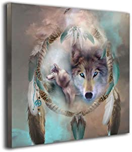 "Kingsleyton Cool Wolf Dream Catcher Giclee Painting On Canvas Posters Prints Pictures Wall Art Living Room Home Decor Wooden Framed Stretched Ready to Hang 20""x20"""