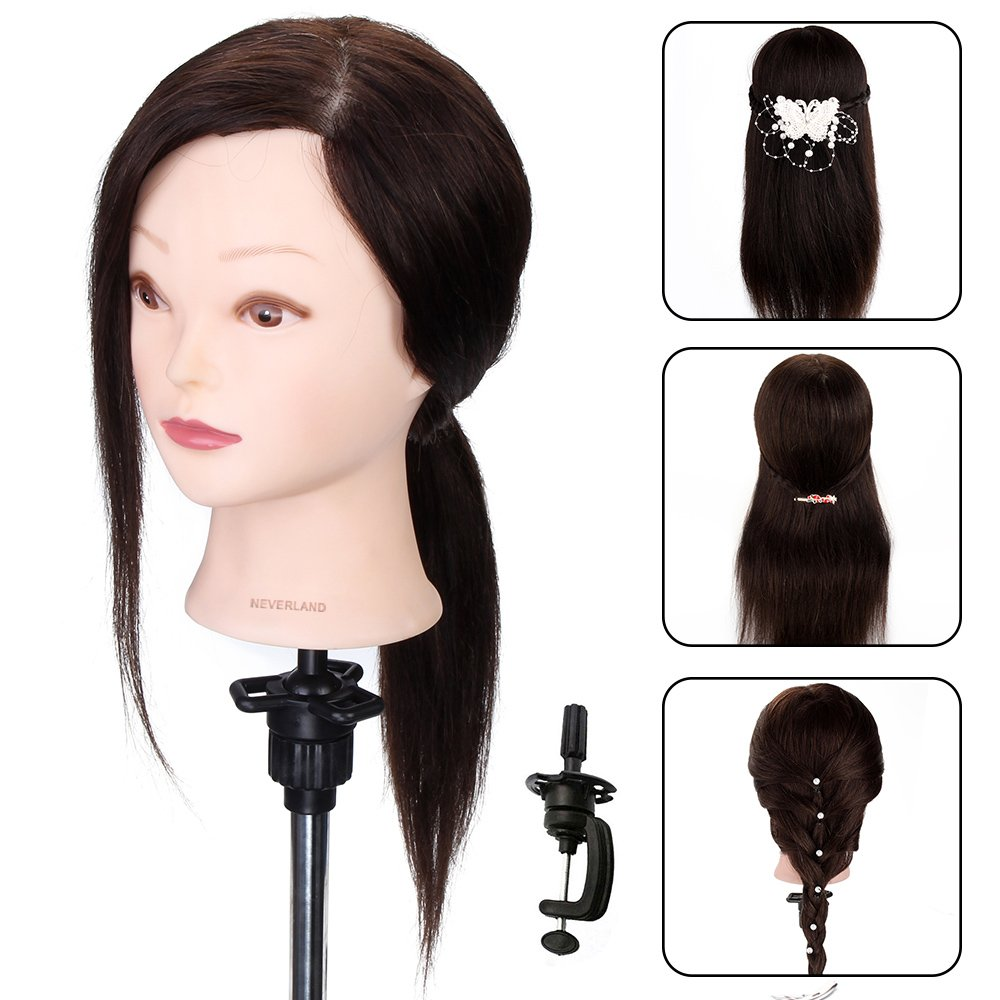 Styling Head, Neverland 20 Inch 100% Real Human Hair Training Head for Practicing Hairstyles Mannequin Manikin Dolls With Table Clamp Holder NEVERLAND Beauty & Health