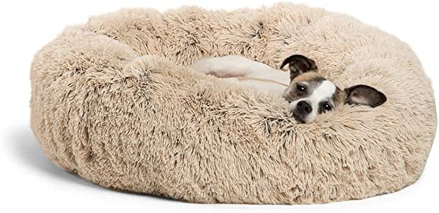 """Best Friends by Sheri Calming Shag Vegan Fur Donut Cuddler (23x23"""" Small - Taupe), Cat and Dog Bed, Self Warming and Cozy for Improved Sleep, Machine Washable for Pets Up to 25 lbs."""