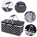 Akalamater 30L Cooler Bag Picnic Basket High Density Insulation (Hot or Cold) Lightweight Foldable Cooler Bag With Aluminum Handle for Shopping,Beach, Picnic,Camping,BBQ