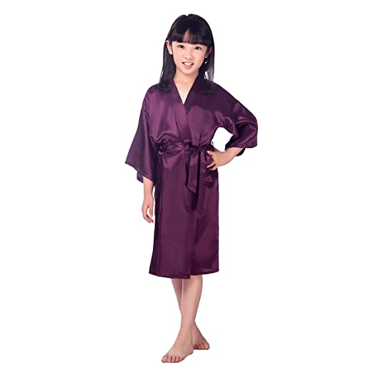 919f221ec4 Image Unavailable. Image not available for. Color  TINKSKY Kids Satin  Kimono Robe ...