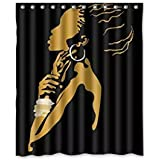 Shower Curtain African Custom Fabric Waterproof Bathroom + Curtain Hooks By Shensee Polyester Fabric 60(w)x72(h) inch (Style 4)