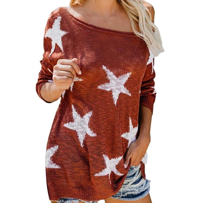 Luckycat Camiseta de Manga Larga con Estampado de Estrellas de Mujer con Cuello en O con