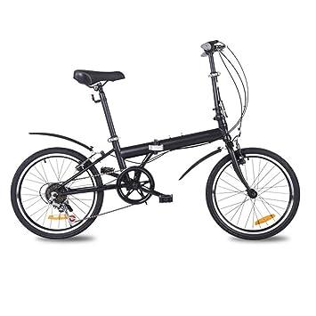 LETFF Bicicleta Plegable para Adultos de 20 Pulgadas para Hombre y Mujer, Negro