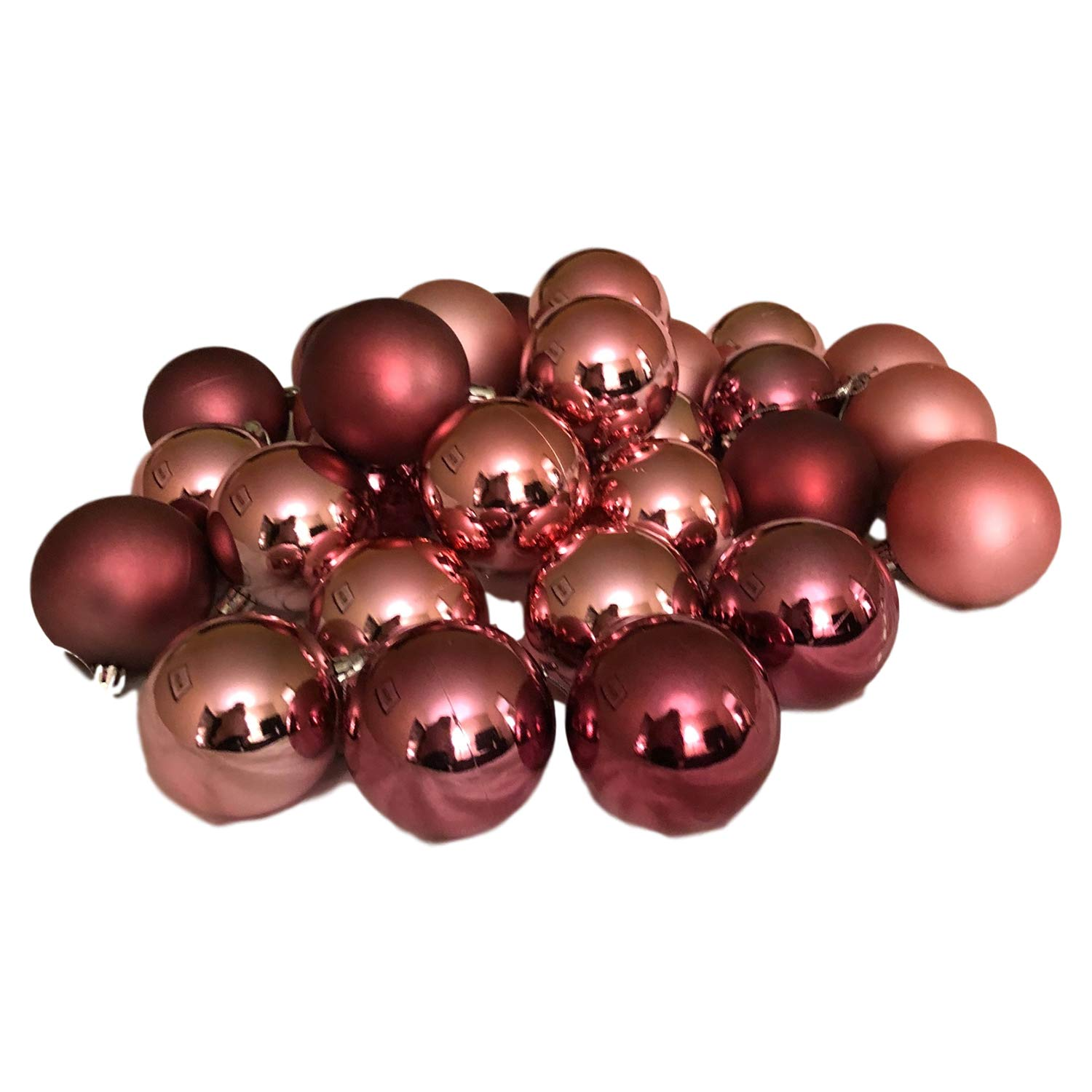 20 Count Rose Gold Eclectic Blackbird Holiday Time Miniature Christmas Tree Shatterproof Ornaments