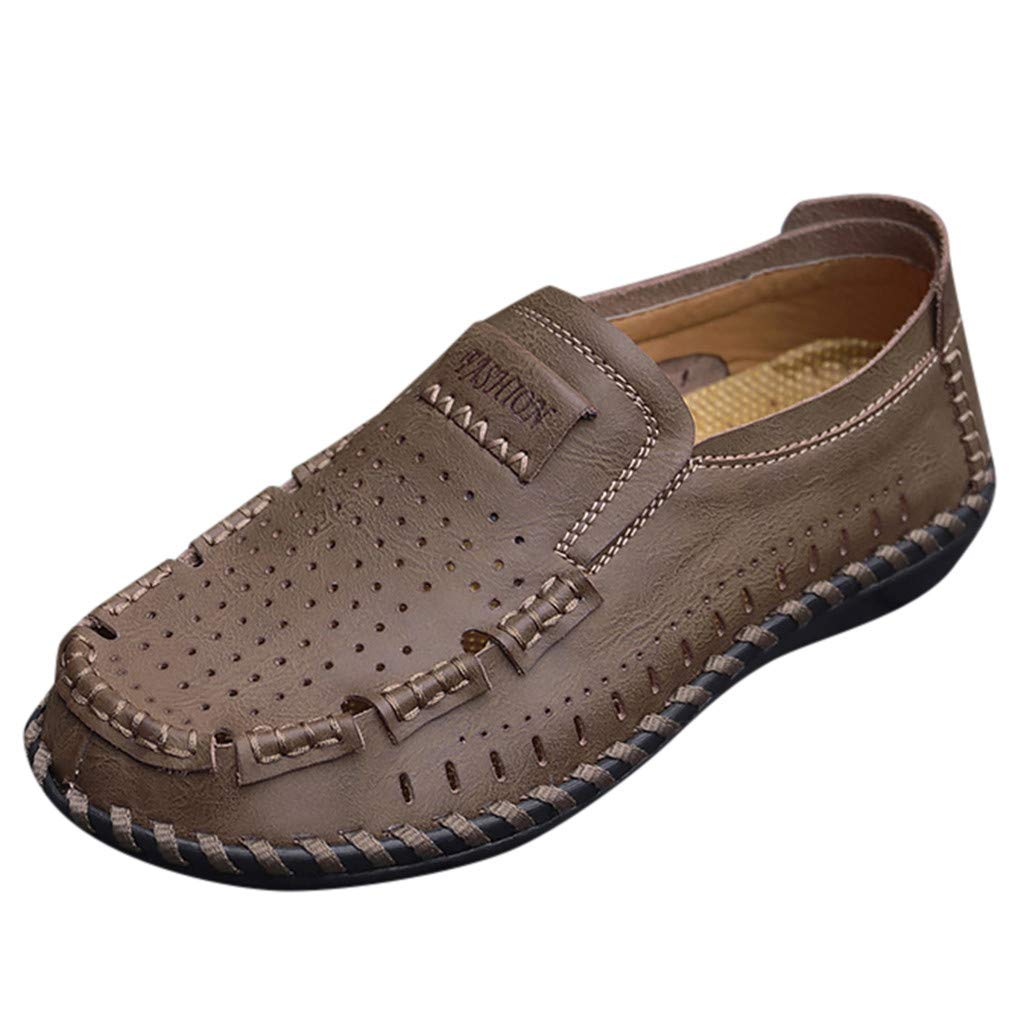 〓COOlCCI〓Men's Loafers & Slip-Ons, Loafer Lightweight Slip On Driving Shoes Penny Loafers Hollow Out Flats Shoes Khaki