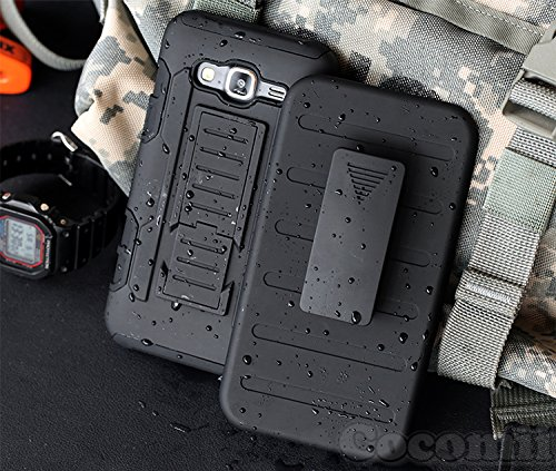 Galaxy J7 Case, Cocomii Robot Armor NEW [Heavy Duty] Premium Belt Clip Holster Kickstand Shockproof Hard Bumper Shell [Military Defender] Full Body Dual Layer Rugged Cover J700 (Black) Black Rugged Holster