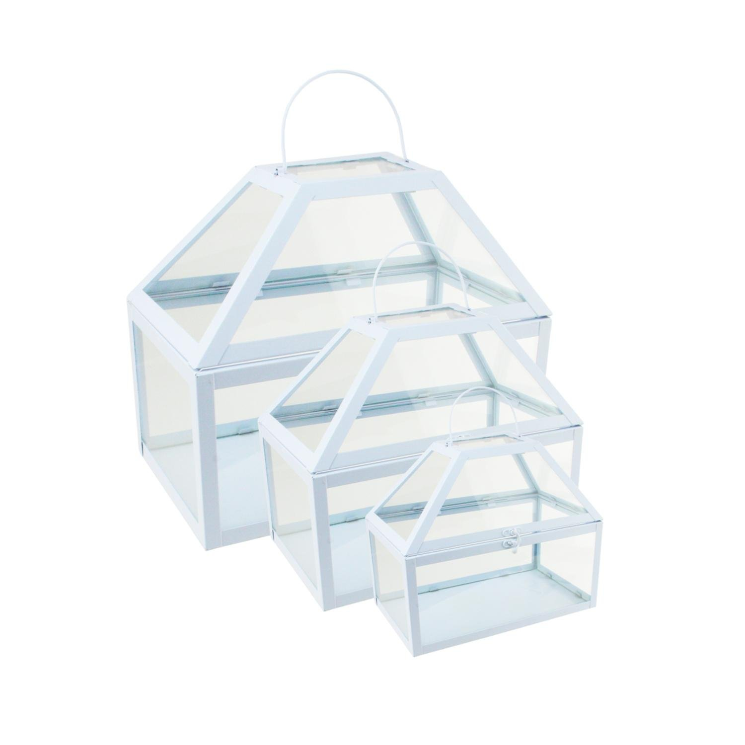 Northlight Set of 3 Light Powder Blue Metal and Glass Paneled Nesting Outdoor Greenhouse Terrariums 8.25''-12''