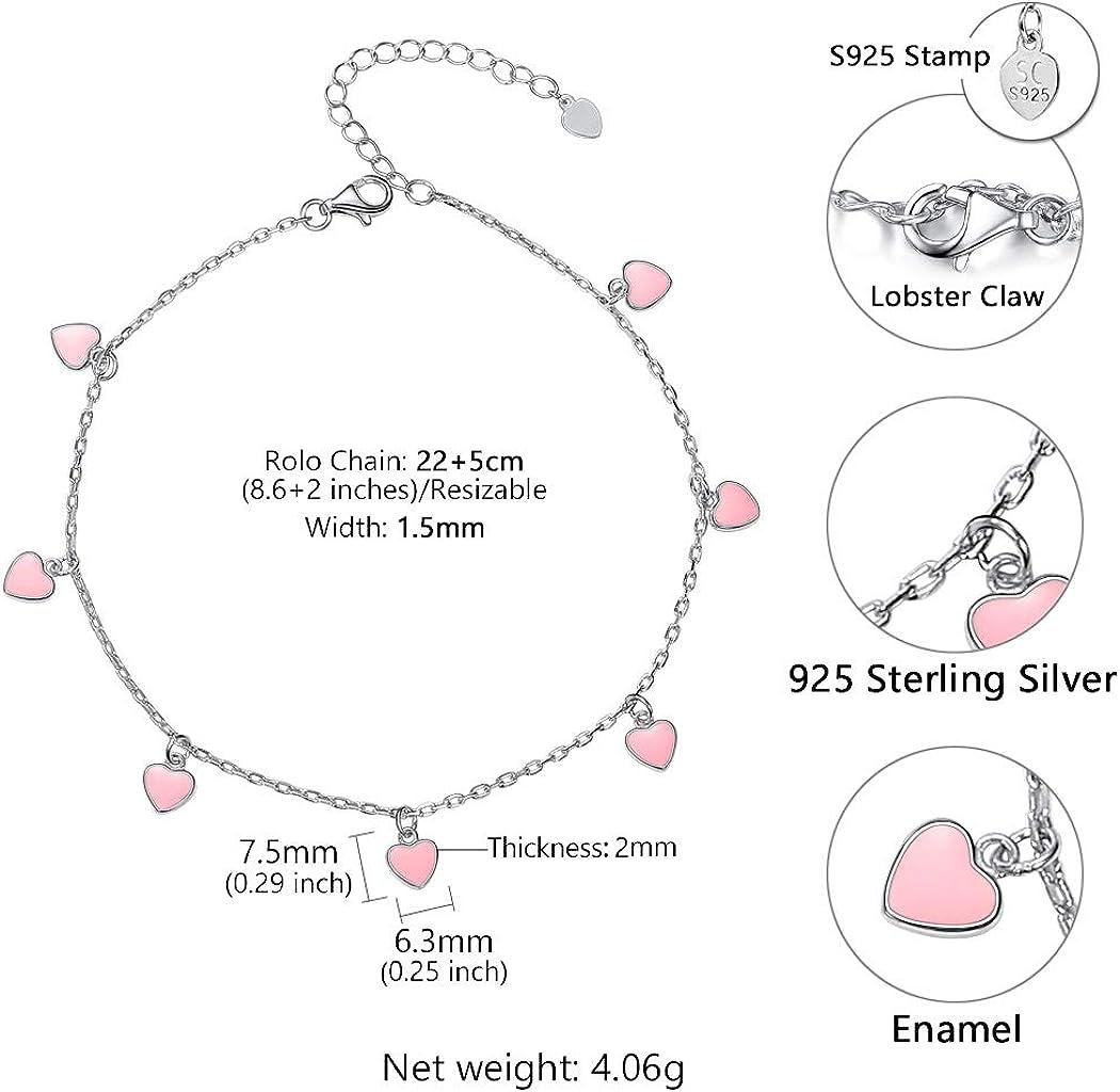 SILVERCUTE Silver Anklets Women Girls Barefoot Jewelry 925 Sterling Link Chain Bracelet for Leg