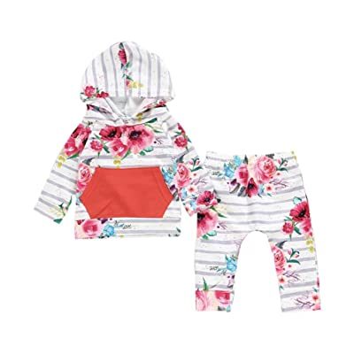 2pc Baby Girl Long Sleeve Floral Hoodie Top with Pocket+Striped Pants Outfit Set