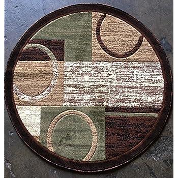 Modern Round Area Rug Brown With Green Design 1497 (4 Feet X4 Feet Round)