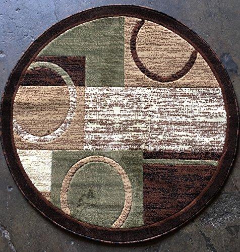 [Modern Round Area Rug Brown With Green Design 1497 (4 feet X4 feet Round)] (Tan Green Circles)