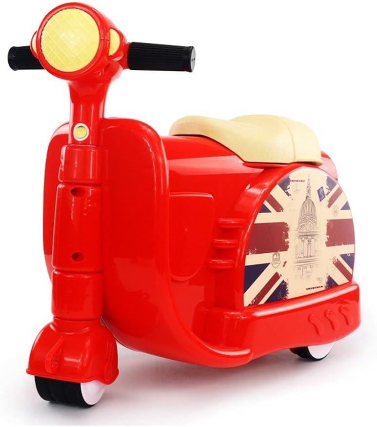 Maleta de motocicleta Huangdinghua, dos en uno, para niños pequeños y niños rojo rosso