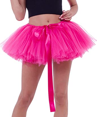 08090b1e2d FEOYA - Disfraces de Tutú Falda Cortas Mujer Adulto de Ballet Traje de Tul  Falda Hinchada Enaguas Fiesta Carnaval con Múltiples Capas Gasa Suave -  Rosado  ...