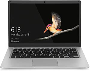 14 inch Laptop Computer with Windows 10 - YELLYOUTH Thin and Light Mini Notebook with Intel Dual Core 6GB RAM 64GB eMMC up to 2.3GHz, Compatible with WiFi HDMI Bluetooth Silver