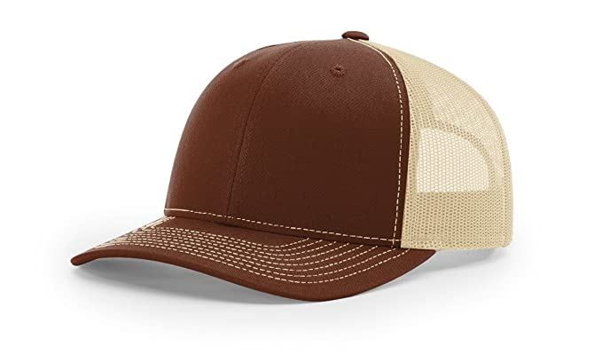 1c24997fa00 Richardson Brown Khaki 112 Mesh Back Trucker Cap Snapback Hat w THP No Sweat