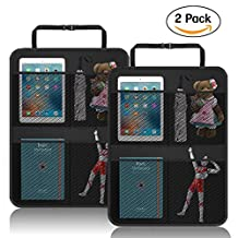 Car Seat Back Protector, VOLADOR Kick Mats for Kids, Car Seat Organizer with 4 Mesh Storage Pockets, X-Large Waterproof Auto Seat Cover
