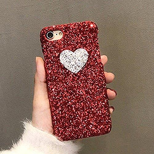 Hülle für iPhone 7 ,Schutzhülle Für iPhone 7 Herzform Glitter Powder Hard Schutzmaßnahmen zurück Fall Fall ,cover für apple iPhone 7,case for iphone 7 ( Color : Red )
