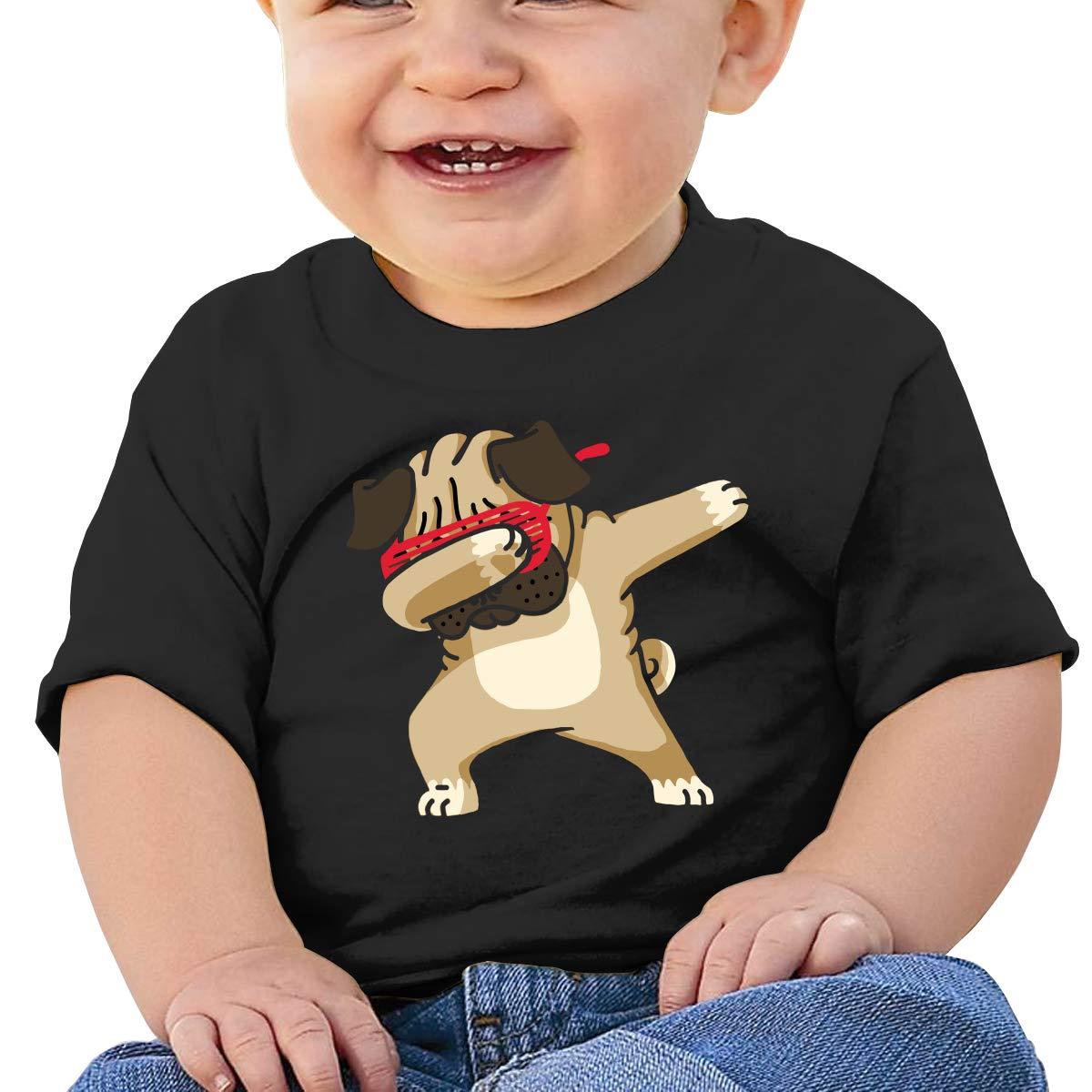 ZUGFGF-S3 Dabbing Pug Hip Hop Boy Girl Newborn Short Sleeve Tee Shirt 6-24 Month Cotton Tops