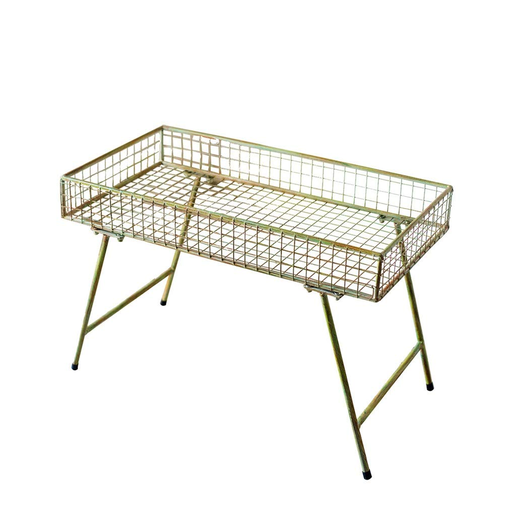 Accessories Garden Decoration Wrought Iron Flower Stand Multifunctional Storage Table Removable Outdoor Decoration Display (Color : Yellow, Size : 367046.5cm)